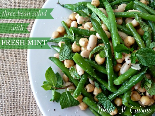 three bean salad with fresh mint