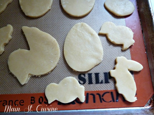 sugar cookie cut outs on a silpat
